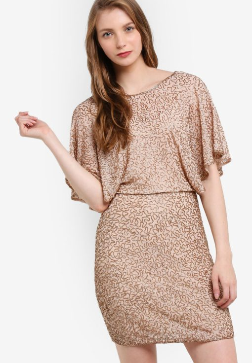 Premium Gold Angel Sleeve Dress by Miss Selfridge for Female