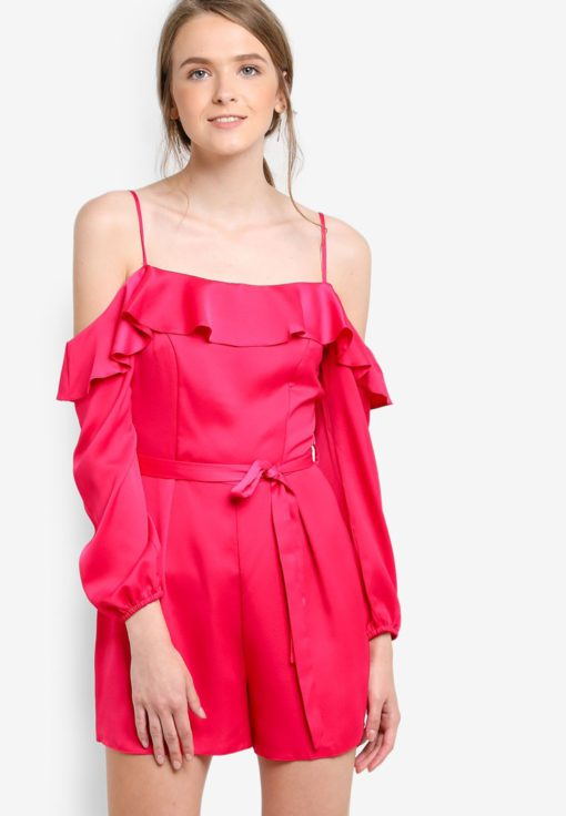Pink Cold Shoulder Playsuit by Miss Selfridge for Female
