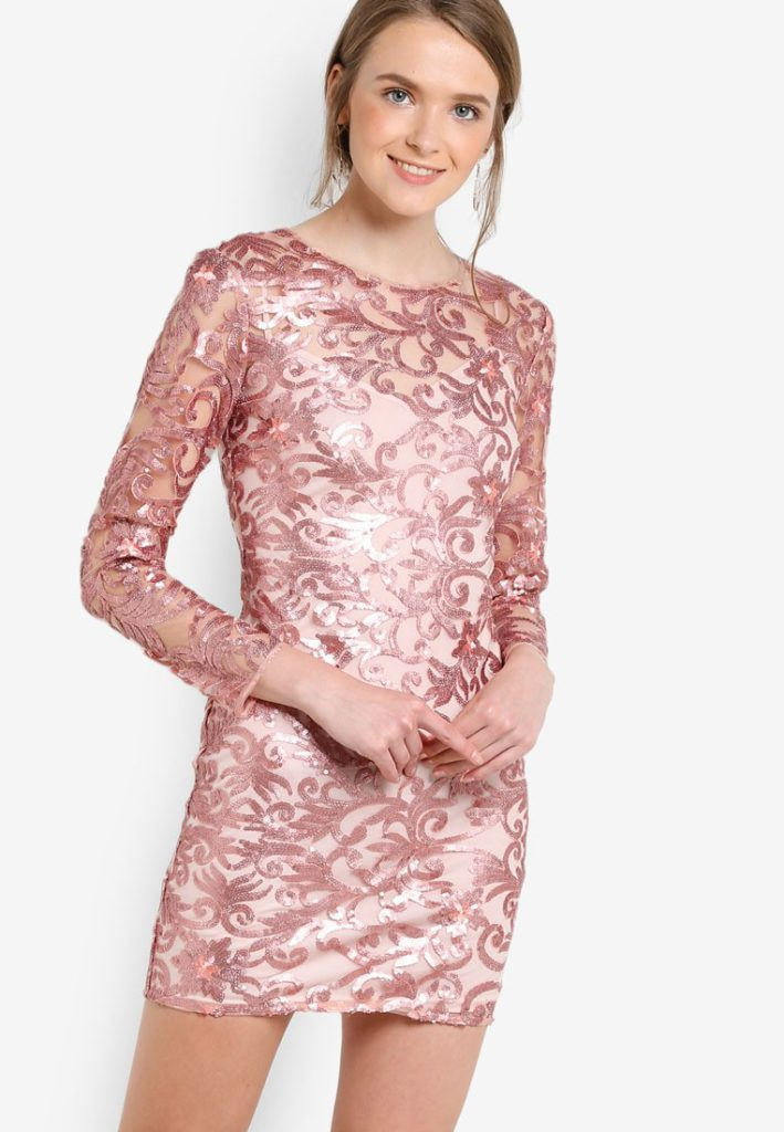 Premium Rose Gold Sequin Mini Dress by Miss Selfridge for Female
