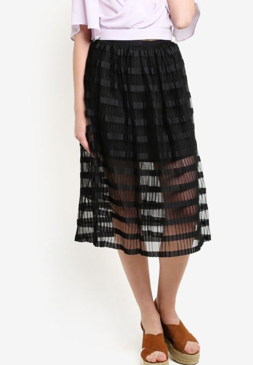 Premium Black Pleat Midi Skirt by Miss Selfridge for Female