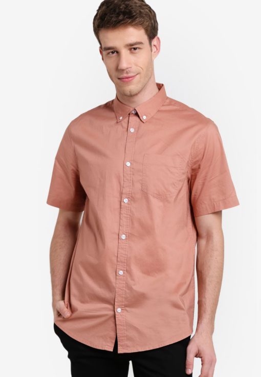 Pink Cotton Short Sleeve Shirt by New Look for Male