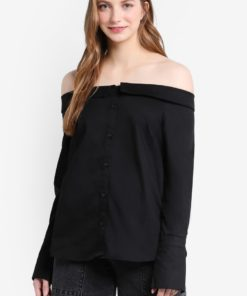 Black Bardot Neck Shirt by New Look for Female