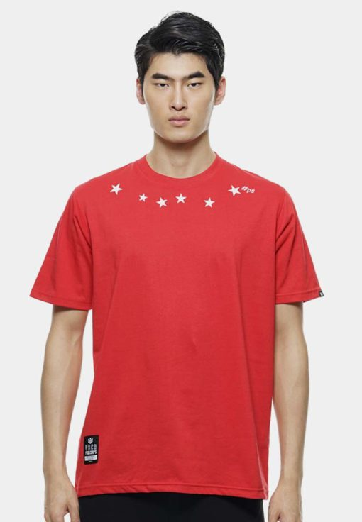 Oversize T-Shirt In Red with Star Print by Private Stitch for Male
