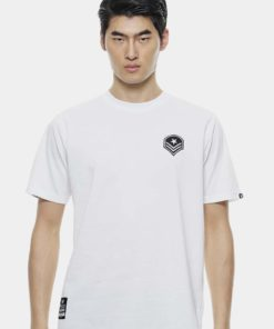Oversize T-Shirt In White with Front Badge Design by Private Stitch for Male