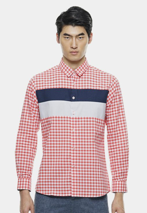 Stylish Long Sleeve Shirt with Border Design by Private Stitch for Male