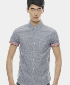 Casual Short Sleeve Shirts In Brush Material by Private Stitch for Male