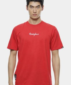Oversize T-Shirt In Red with Embroidery Infont by Private Stitch for Male
