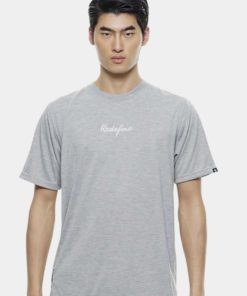 Oversize T-Shirt In Grey Melange with Embroidery Infont by Private Stitch for Male