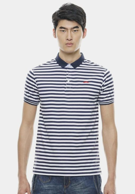Basic Navy Blue Tiny Striped with Signature Moustache by Private Stitch for Male