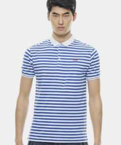 Basic Blue Tiny Striped with Signature Moustache Polo by Private Stitch for Male
