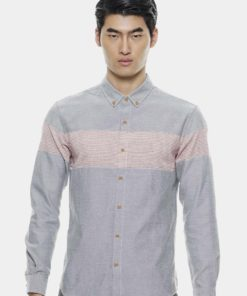Casual Border Matching Oxford Shirts by Private Stitch for Male