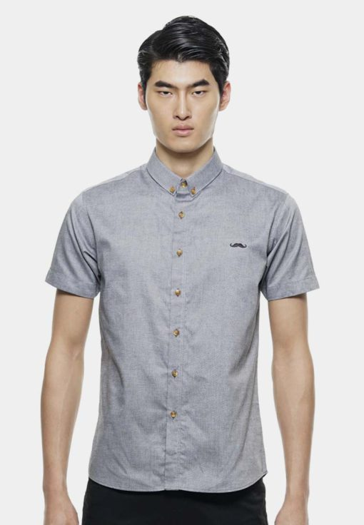 Short Sleeve Shirts with Signature Moustache Logo by Private Stitch for Male