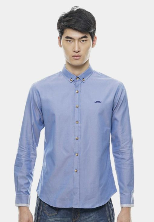Signature Moustache Long Sleeve Collar Shirt by Private Stitch for Male