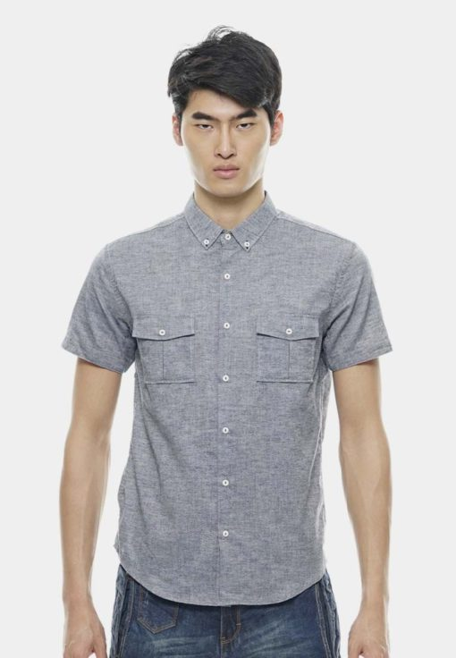 Work Style Short Sleeve Chambray Shirts by Private Stitch for Male