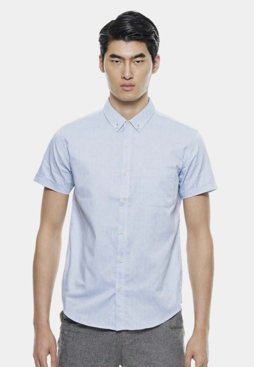 Simple Short Sleeve Shirts In Dobby Texture by Private Stitch for Male