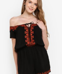 Embroidered Off-Shoulder Romper by Something Borrowed for Female