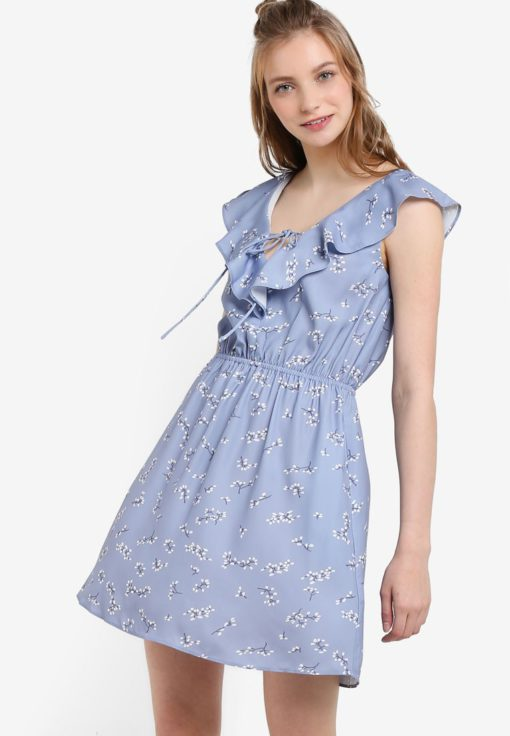 Printed Dip Neck Ruffle Dress by Something Borrowed for Female