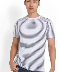 Navy And White Stripe T-Shirt by Topman for Male