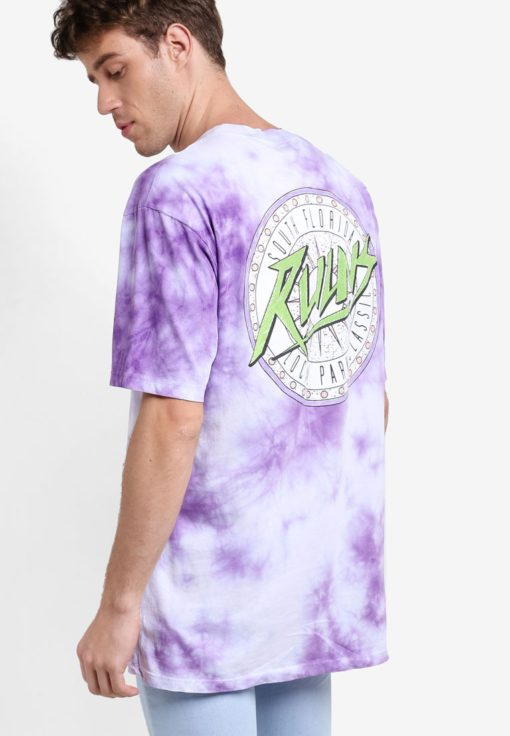 Purple Tie Dye Oversized T-Shirt by Topman for Male
