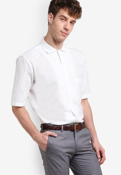 Topman Premium Off White Short Sleeve Casual Shirt by Topman for Male