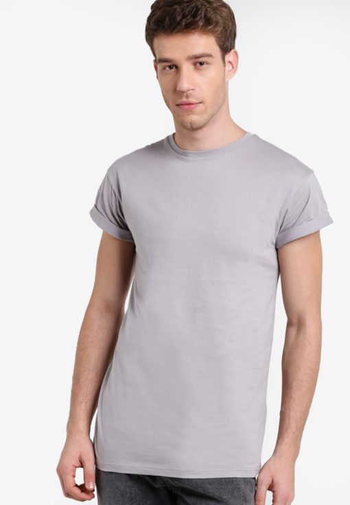 Ash Grey Muscle Fit Roller T-Shirt by Topman for Male