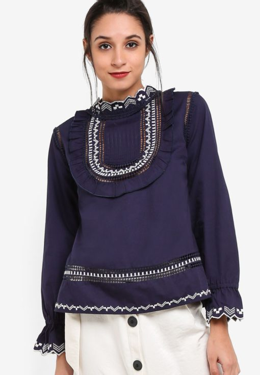 Embroidered Poplin Top by TOPSHOP for Female
