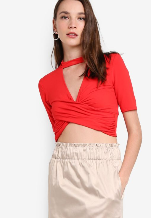 Choker Short Sleeve Twist Top by TOPSHOP for Female