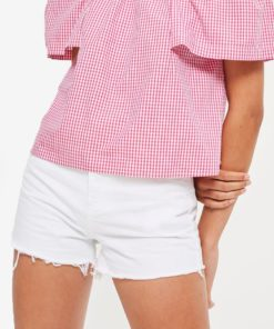 MOTO High Waisted White Mom Shorts by TOPSHOP for Female