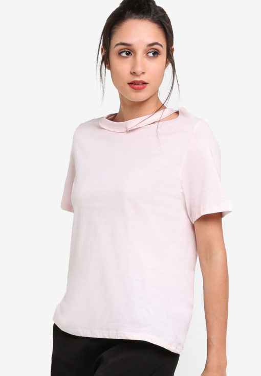 Choker Neck Slash T-Shirt by TOPSHOP for Female