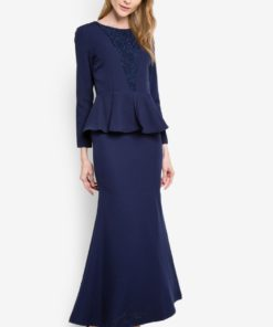 Miley Lace Detailed Peplum Long Dress by VERCATO for Female