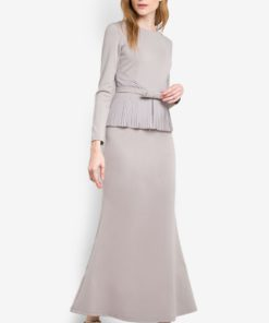 Riley Pleats Peplum Long Dress with Ribbon Belt by VERCATO for Female