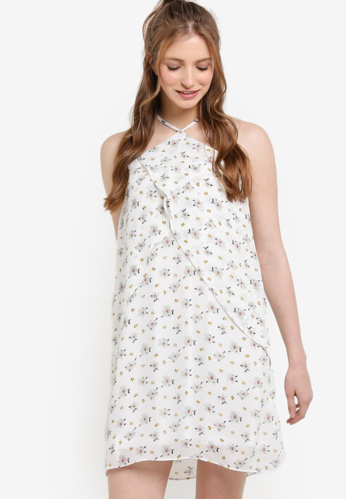 Love Halter Neck With Ruffle Dress by ZALORA for Female