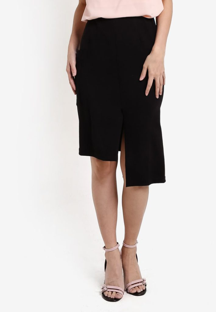 Collection Asymmetric Split Skirt by ZALORA for Female