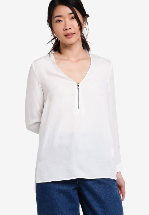 Collection Front Zip Blouse by ZALORA for Female