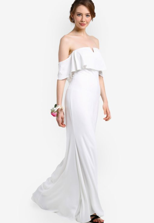 Bridesmaid Off Shoulder Maxi Dress with Ruffle by ZALORA for Female